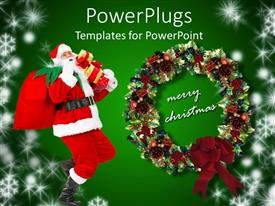 PowerPlugs: PowerPoint template with a representation of Christmas celebrations with green background