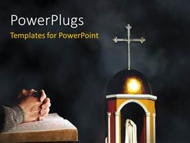 PowerPlugs: PowerPoint template with the representation of the church with a person praying to God