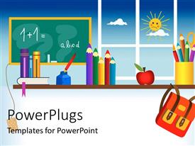 PowerPlugs: PowerPoint template with a representation of a classroom with sun in the background