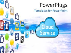 PowerPlugs: PowerPoint template with the representation of cloud computing with a number of apps