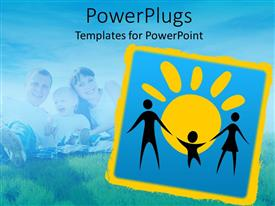 PowerPoint template displaying a representation of a complete family with bluish background