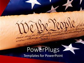 PowerPoint template displaying a representation of US constitution with US flag in the background