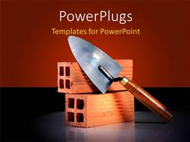 PowerPlugs: PowerPoint template with a representation of construction with brown background