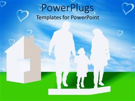 PowerPlugs: PowerPoint template with a representation of a family with clear sky in the background