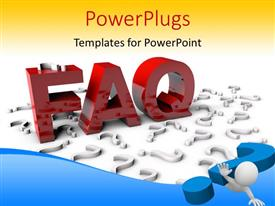 PowerPlugs: PowerPoint template with the representation of FAQ with yellowish background
