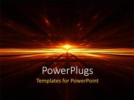 PowerPlugs: PowerPoint template with the representation of a golden city with blackish background