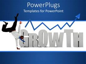 PowerPlugs: PowerPoint template with the representation of the growth with bluish background