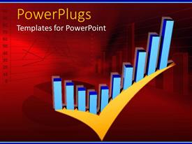 PowerPlugs: PowerPoint template with a representation of a growth chart of business in a tick form