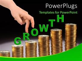 PowerPlugs: PowerPoint template with a representation of growth with the help of gold coins