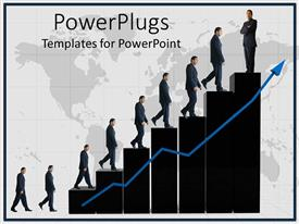 PowerPoint template displaying a representation of growth of a person in financial world