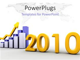 PowerPoint template displaying the representation of growth in the year 2010