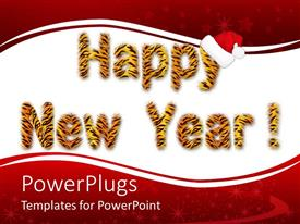 PowerPoint template displaying the representation of happy new year with reddish background