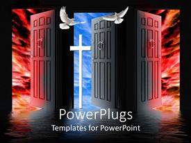 PowerPlugs: PowerPoint template with the representation of hell and heaven along with the cross