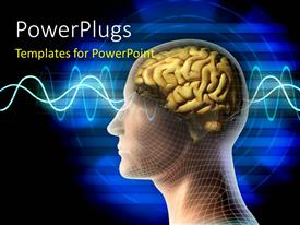 PowerPlugs: PowerPoint template with a representation of a human brain with bluish background