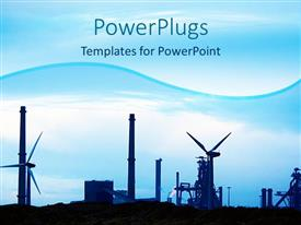 PowerPlugs: PowerPoint template with a representation of industry with bluish background