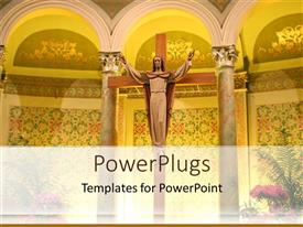 PowerPlugs: PowerPoint template with a representation of Jesus in a church