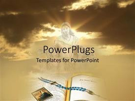 PowerPlugs: PowerPoint template with the representation of Jesus in the clouds