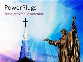 PowerPlugs: PowerPoint template with a representation of Jesus with a holy cross in the background