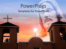 PowerPlugs: PowerPoint template with representation of Jesus with a lot of churches