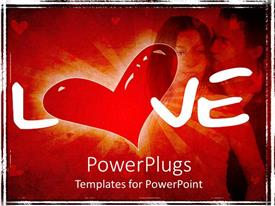 PowerPoint template displaying the representation of love with the help of a couple