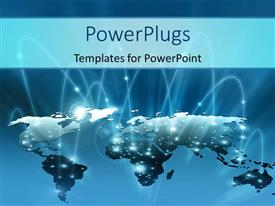 PowerPlugs: PowerPoint template with the representation of map of the Earth with bluish background