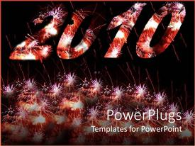 PowerPoint template displaying the representation of the new year 2010