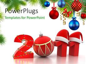 PowerPlugs: PowerPoint template with a representation of new year 2011 with celebration in background