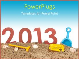 PowerPoint template displaying a representation of the new year 2013