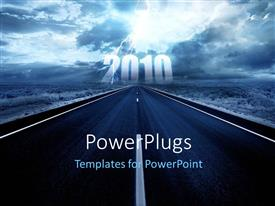 PowerPlugs: PowerPoint template with the representation of the new year 2016 along with a road leading to it