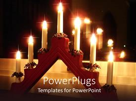 PowerPoint template displaying a representation of a number of candles together