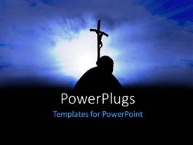 PowerPoint template displaying the representation of a person holding the cross