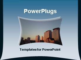 PowerPlugs: PowerPoint template with a representation of skyscrapers with bluish background