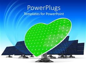 PowerPlugs: PowerPoint template with a representation of solar panels along with a heart in the middle