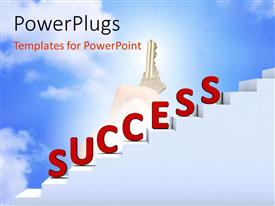 PowerPlugs: PowerPoint template with the representation of success with the help of stairs and a key