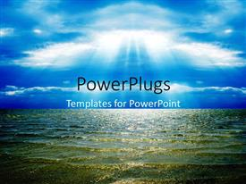 PowerPlugs: PowerPoint template with the representation of sunlight reflection on the sea