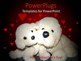 PowerPlugs: PowerPoint template with a representation of valentine's day with hearts in the background