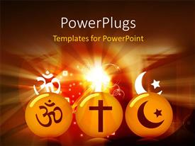 PowerPlugs: PowerPoint template with the representation of various religions with colorful background