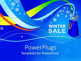 PowerPlugs: PowerPoint template with the representation of winter sale with bluish background