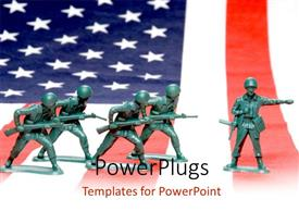 PowerPoint template displaying the representation of the world war soldiers of America