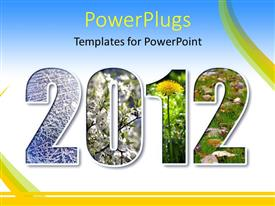 PowerPlugs: PowerPoint template with the representation of the year 2012 with a lot of greenery