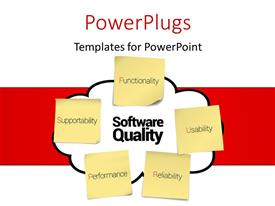 PowerPlugs: PowerPoint template with representing software quality attributes, Functionality, Usability, Reliability, Performance, Supportability