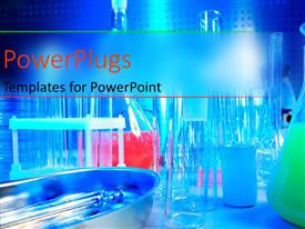PowerPlugs: PowerPoint template with research laboratory with medical science equipment such as chemicals, test tubes
