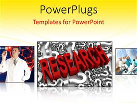 PowerPlugs: PowerPoint template with research theme with three depictions of chemist working on chemistry formulas red research word and researchers looking through microscopes in lab