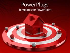 PowerPoint template displaying residential house sitting on red target surrounded by beautiful ornaments