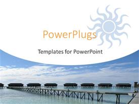 PowerPlugs: PowerPoint template with resort homes with wooden bridge, ocean, blue sky, travel, vacation