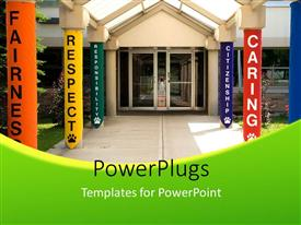 PowerPlugs: PowerPoint template with a restaurant with a number of pillars