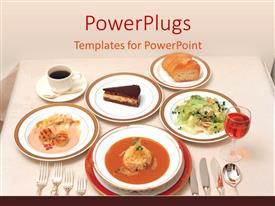 PowerPoint template displaying restaurant table with various dishes including soup, salad, bread, cake, coffee and wine