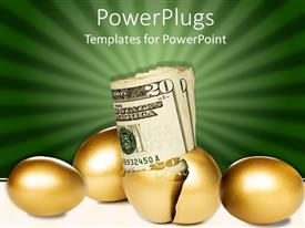 PowerPoint template displaying retirement nest egg metaphor with gold egg hatching and US bills coming out