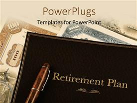 PowerPlugs: PowerPoint template with retirement plan portfolio on top of vintage stock certificates