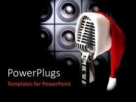 PowerPlugs: PowerPoint template with retro microphone with Santa cap and speakers in background